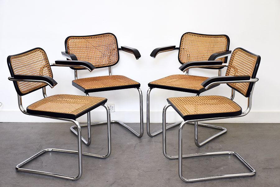 marcel breuer 4 chaises s64 thonet design vintage. Black Bedroom Furniture Sets. Home Design Ideas