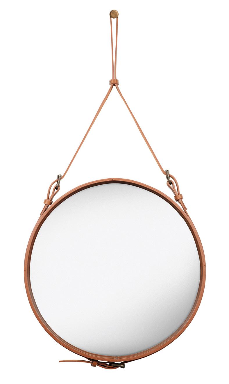Miroir circulaire en cuir de jacques adnet gubi design for Miroir circulaire