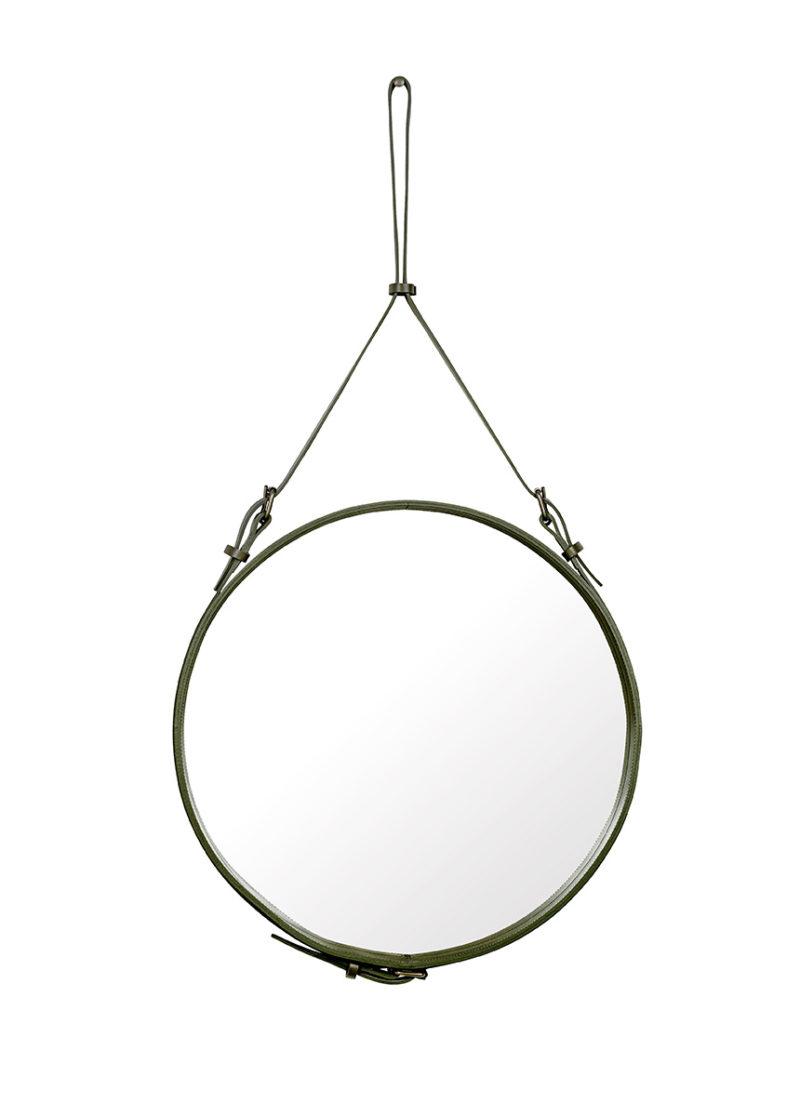 Spiegel Circulaire, M olivgrün, Jacques Adnet, Gubi