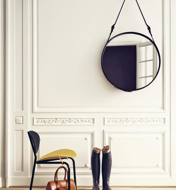 Mirror - Circulaire, black, Jacques Adnet, Gubi