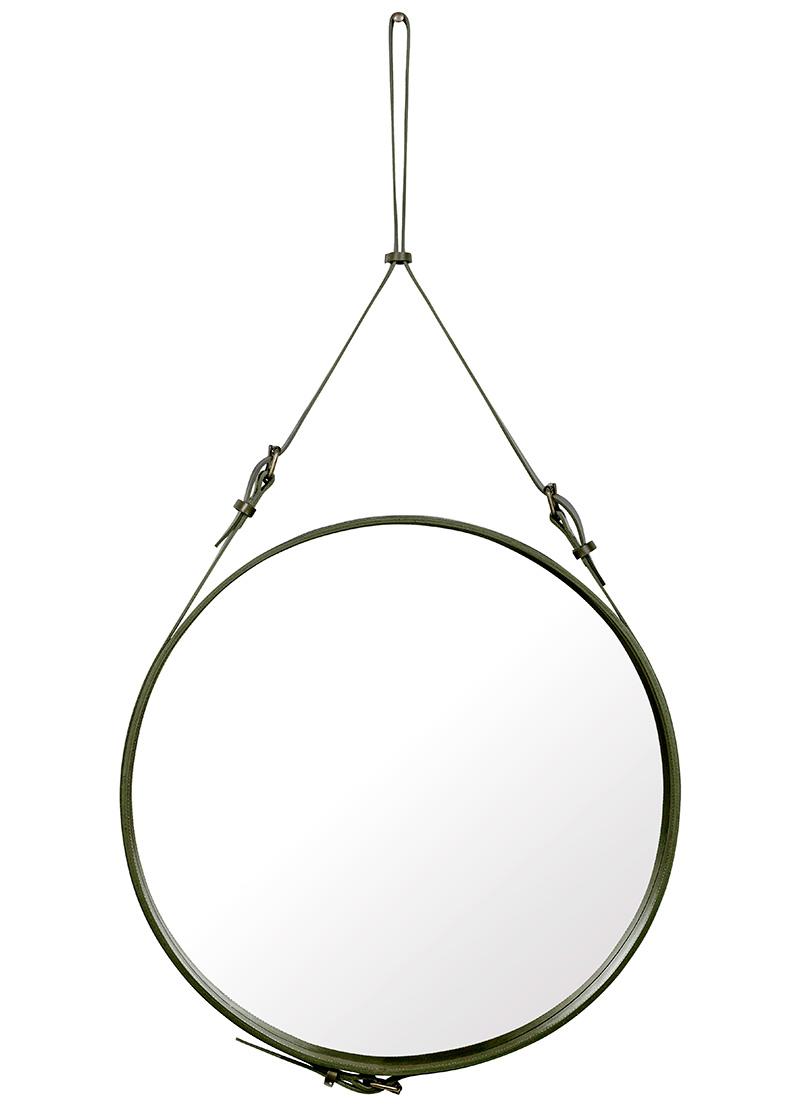 Jacques Adnet, Spiegel Circulaire L, olive grün, Gubi