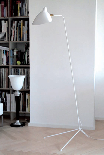 Serge Mouille, standing lamp, white