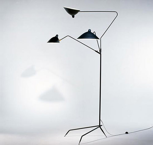 Standing lamp 3 arms, Lampadaire trois bras, Serge Mouille