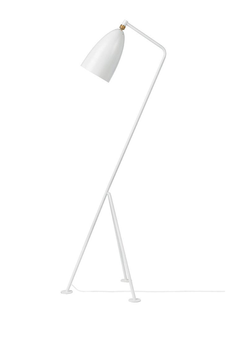 Grasshopper floor light, matt white, Greta Grossman, Gubi