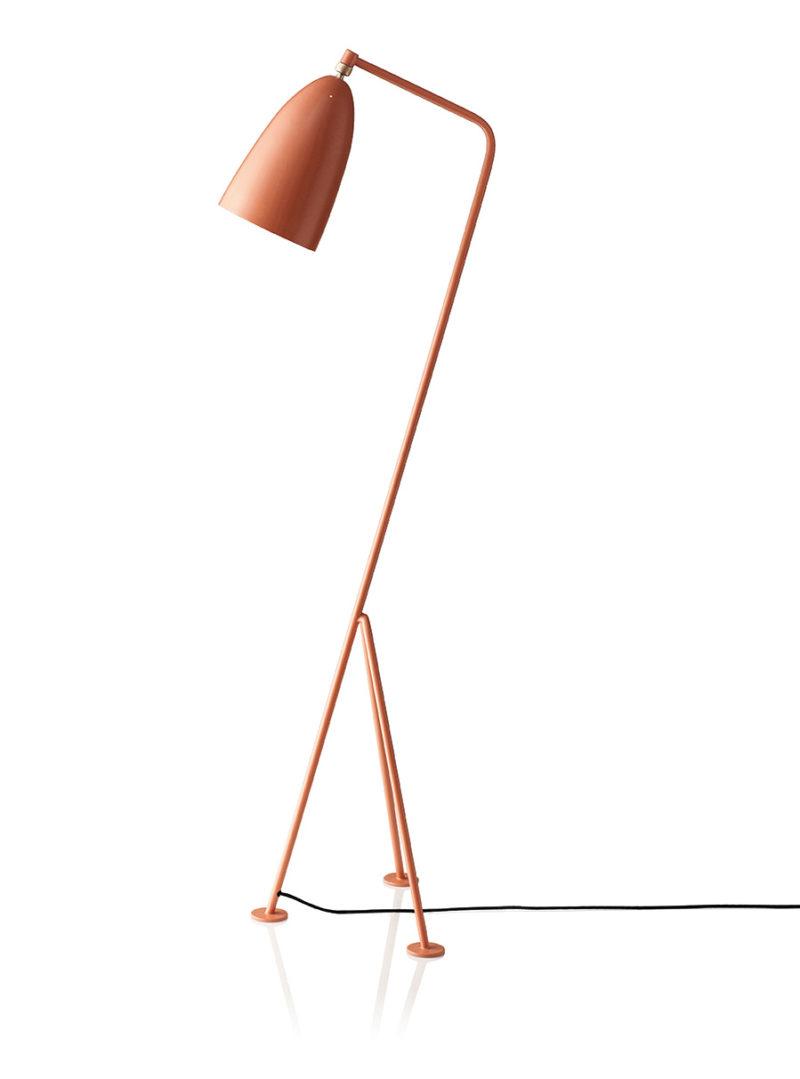 Grasshopper floor light, vintage red, Greta Grossman, Gubi