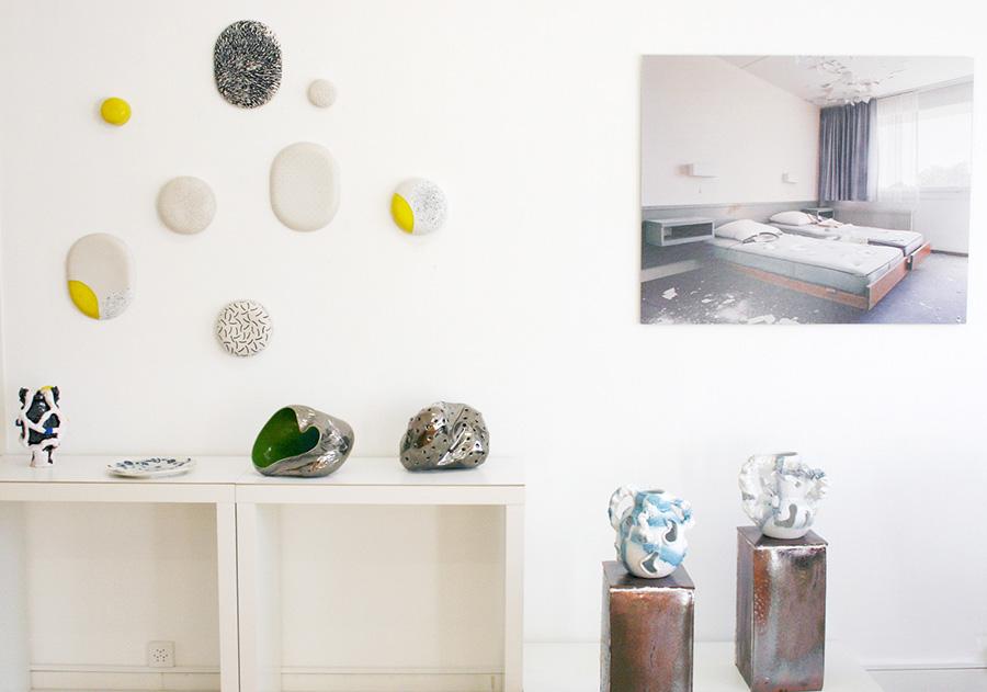 Vue de l'exposition, Dimitri Buhler, François Ruegg, Adrien Chevalley