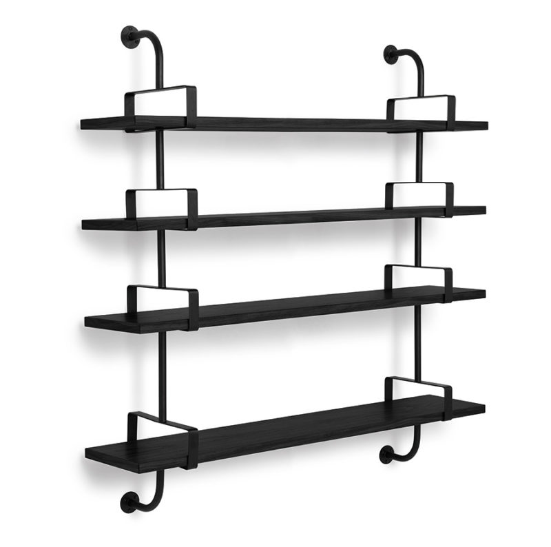 Demon shelves, 4 shelves, 155 cm, black, Mathieu Matégot, Gubi
