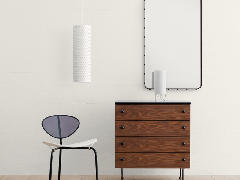 Chest of drawers Serie 62, Greta Grossman, Nagasaki chair, Matégot, Adnet mirror, Pedrera lamps, Gubi