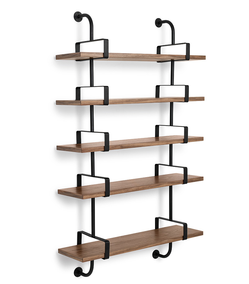 Demon shelves, 5 shelves, 95 cm, walnut, Mathieu Matégot, Gubi
