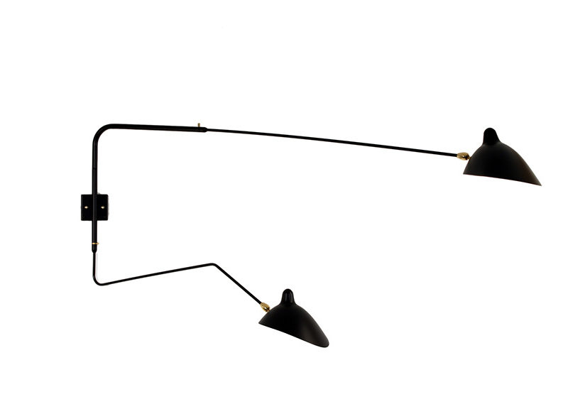 Rotating sconce 2 arms, 1 curved, Serge Mouille