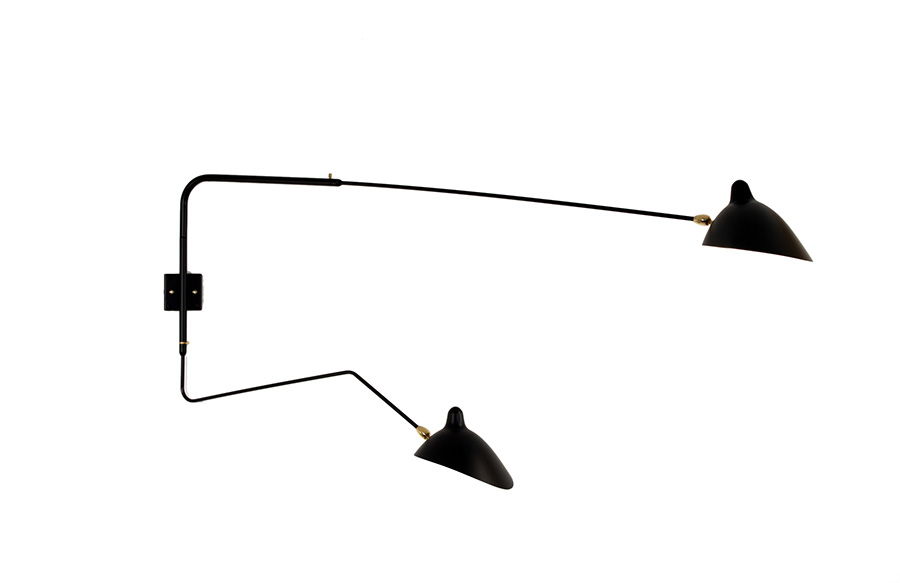 serge mouille applique 2 bras pivotants dont 1 courbe suisse. Black Bedroom Furniture Sets. Home Design Ideas