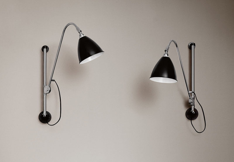 Pair of wall light BL5, chrome with black shade, Bestlite, Gubi
