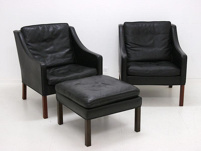 BM 2207 Sessel und Fußstütze, Borge Mogensen, Fredericia