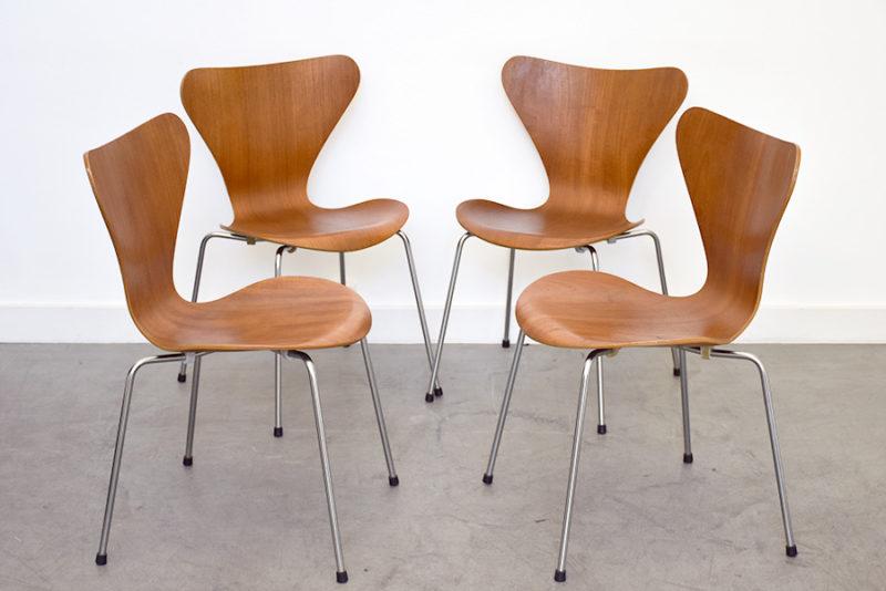 4 chaises Serie 7, Arne Jacobsen, Fritz Hansen, 1955