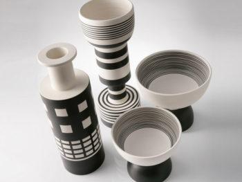 Keramikvase und -Schale, schwarz weiss, Ettore Sottsass, Bitossi