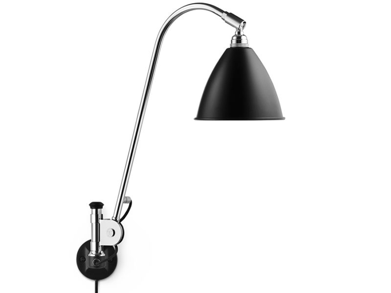 Wall light BL6, chrome with black shade, Bestlite, Gubi
