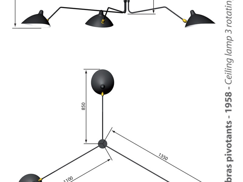 Rotating ceiling light 3 arms, Serge Mouille. Plafonnier 3 bras pivotants