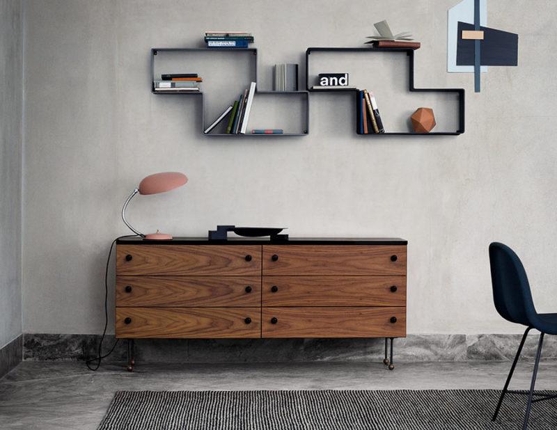 Sideboard 6, Serie 62, Cobra Tischlampe, Greta Grossman, Dedal Regale, Matégot, Gubi