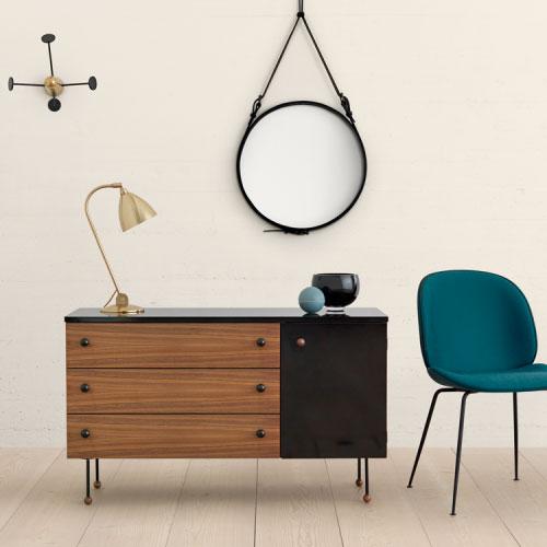 Dresser 3, serie 62, Greta Grossman, Beetle chair, Gam Fratesi, Gubi. Bestlite lamp., Adnet mirror, Matégot coatrack