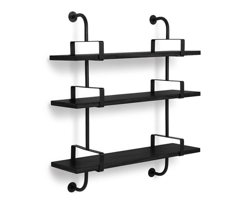 Demon shelves, 3 shelves, 95 cm, black, Mathieu Matégot, Gubi