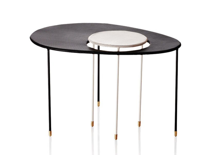 Kangourou side table, black & white, Mathieu Matégot, Gubi