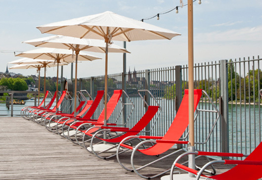 Lounge chair Lido, red fabric, Giudici, parasols, Wohnbedarf, WB Form