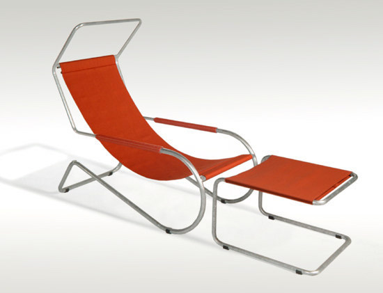 Lounge chair with foot stool Lido, red fabric, Giudici, Wohnbedarf, WB Form