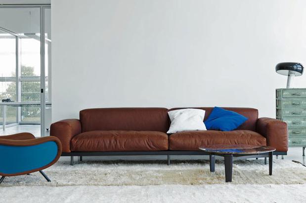 Naviglio Sofa aus Leder (Rubino), Umberto Asnago, Arflex