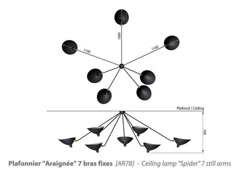 plafonnier araignée 7 bras, size