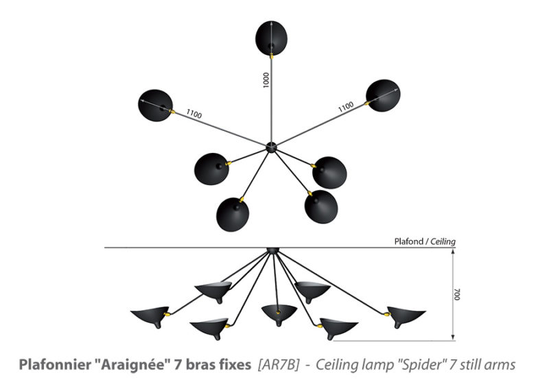 plafonnier araignée 7 bras, Größe