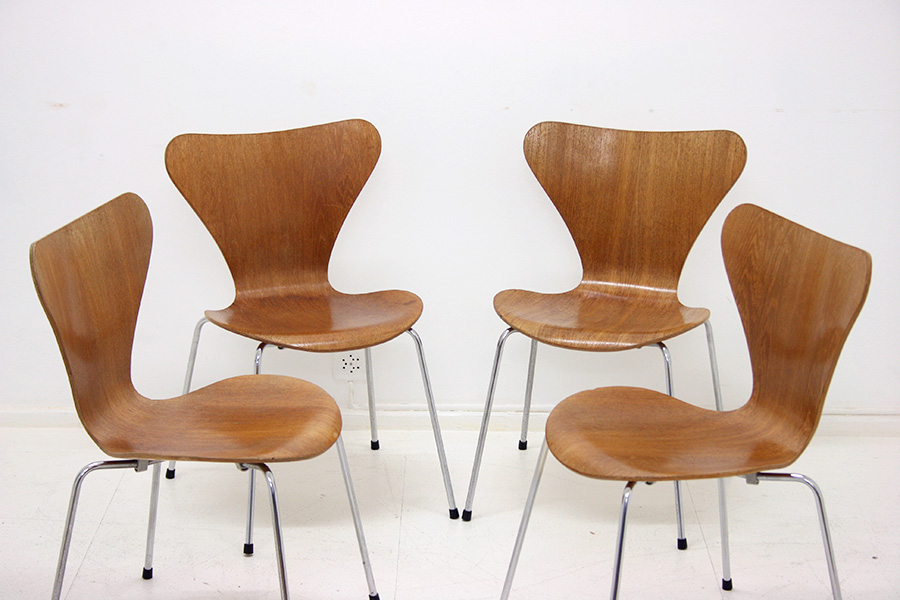 Serie 7 chair arne jacobsen fritz hansen vintage for Chaise arne jacobsen
