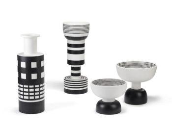 Vases et coupes en céramique en noir et blanc, Ettore Sottsass, Bitossi