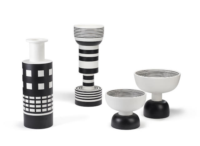 Black and white ceramic bowls and vases, Ettore Sottsass, Bitossi