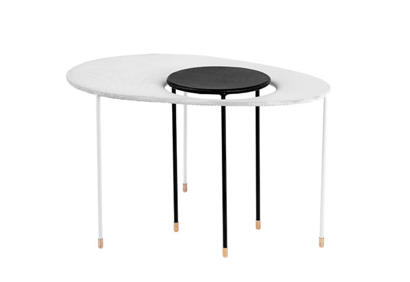 Kangourou side table, white & black, Mathieu Matégot, Gubi