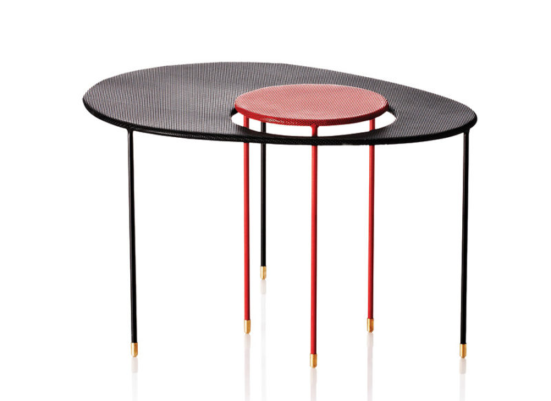 Kangourou side table, black & red, Mathieu Matégot, Gubi