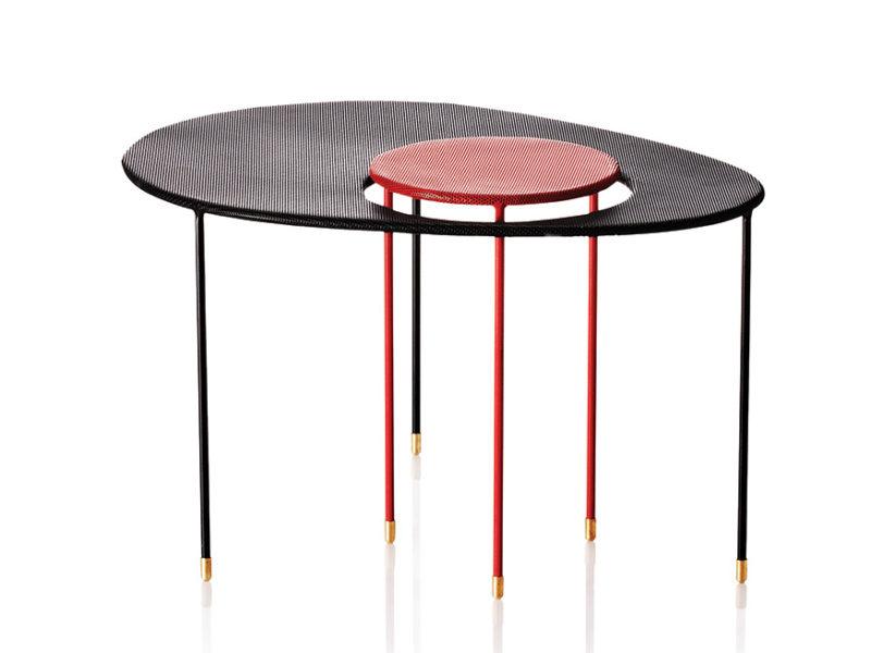 Table Kangourou, noir et rouge, Mathieu Matégot, Gubi