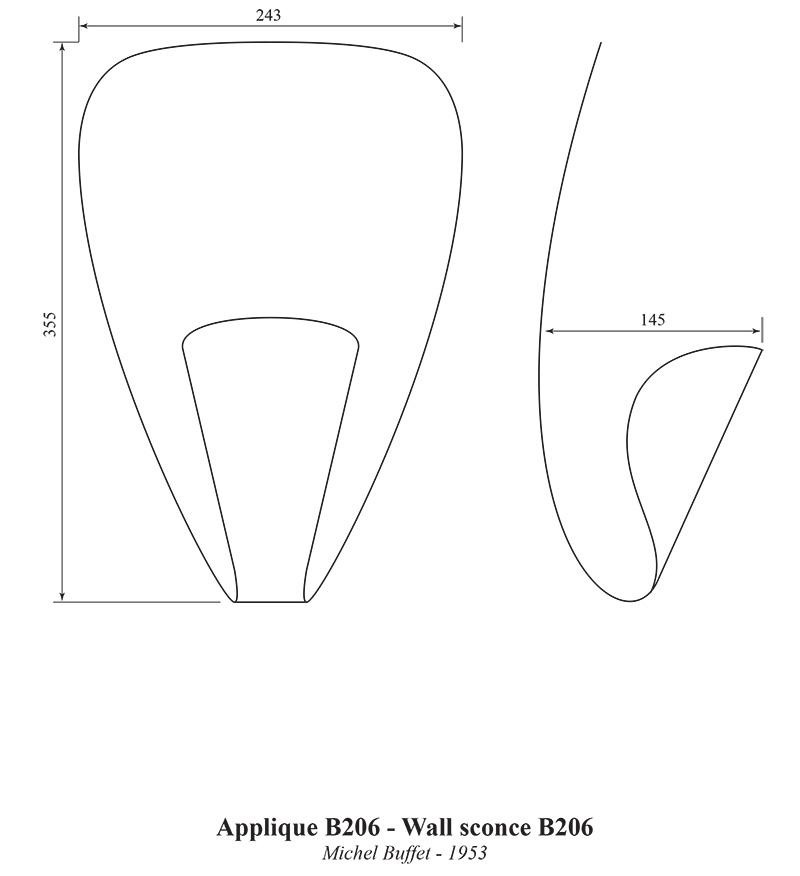 Applique B206, Michel Buffet, Lignes de démarcation. Dimensions