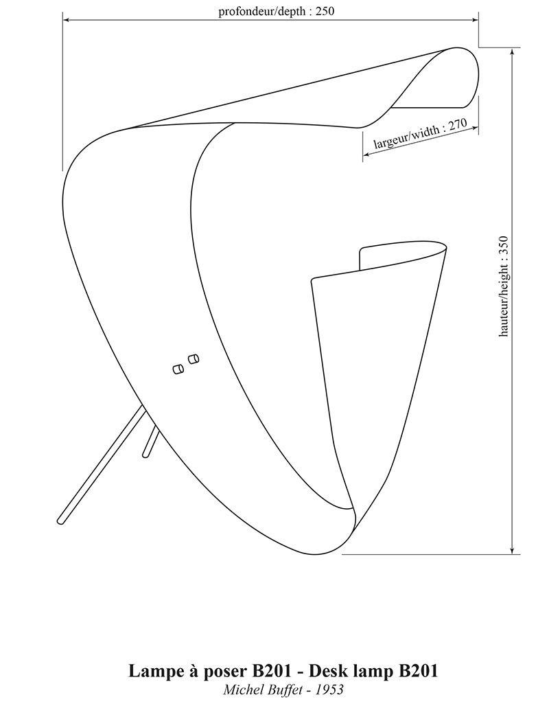 Lampe de table B201, Michel Buffet, Lignes de démarcation, dimensions