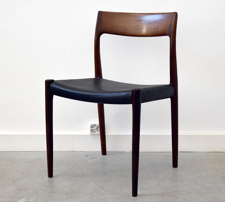 6 chaises 77 niels o m ller j l moller 1959 design vintage suisse. Black Bedroom Furniture Sets. Home Design Ideas