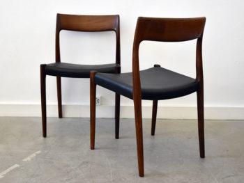 6 chaises 77 en palissandre, Niels Møller, J.L. Moller