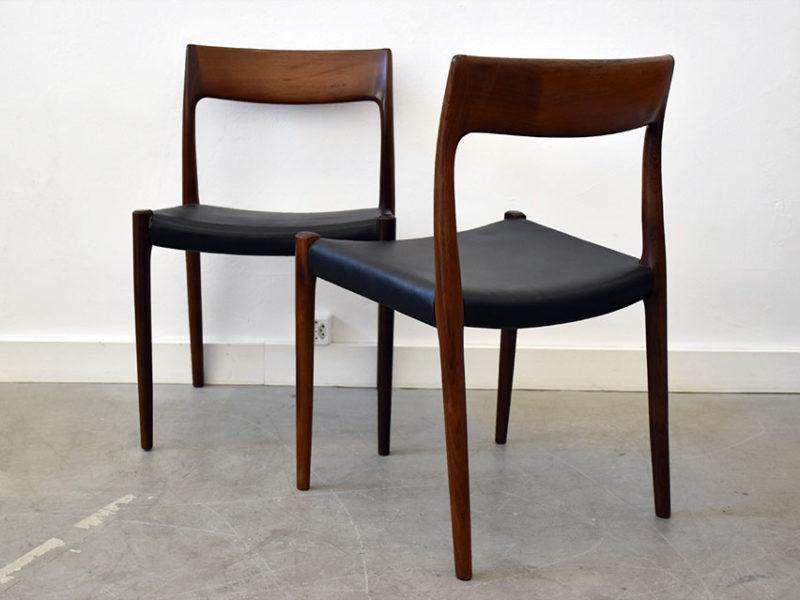 6 rosewood chairs 77,Niels O. Møller,J.L. Moller