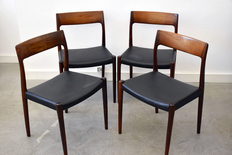 6 rosewood chairs 77, Niels O. Møller, J.L. Moller