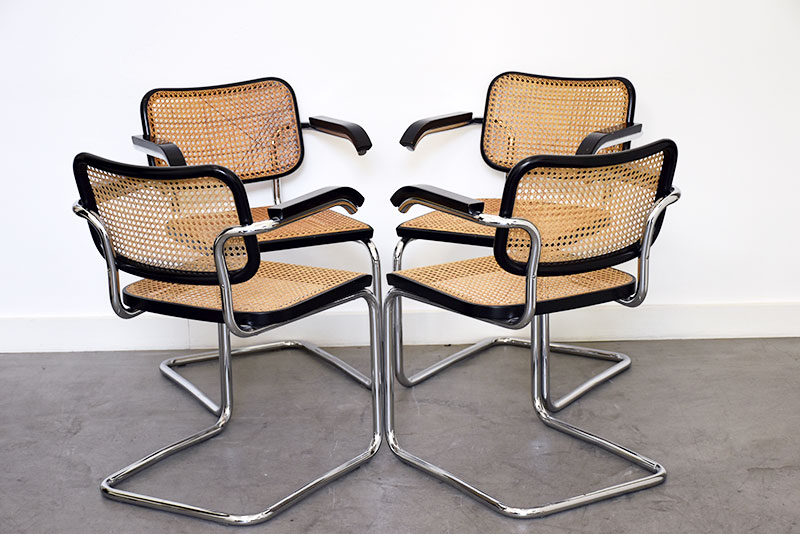 marcel breuer 4er set s64 armlehnst hle thonet. Black Bedroom Furniture Sets. Home Design Ideas