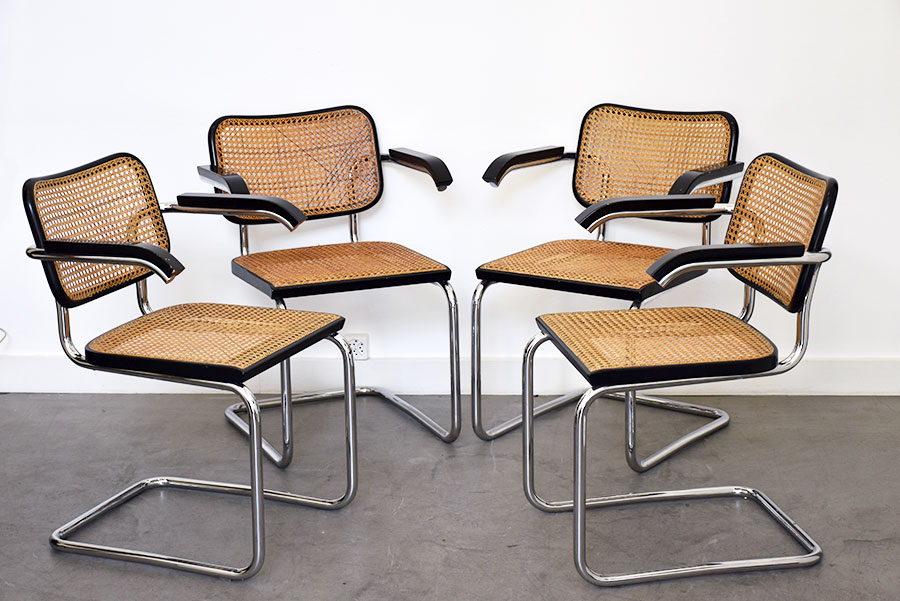 marcel breuer 4 chaises s64 thonet design vintage. Black Bedroom Furniture Sets. Home Design Ideas