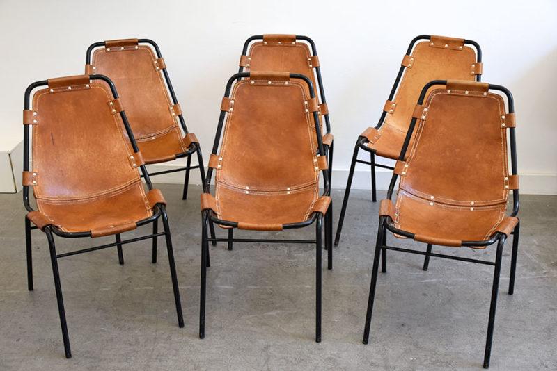 6er Set Les Arcs Stühle, Charlotte Perriand, ca. 1960