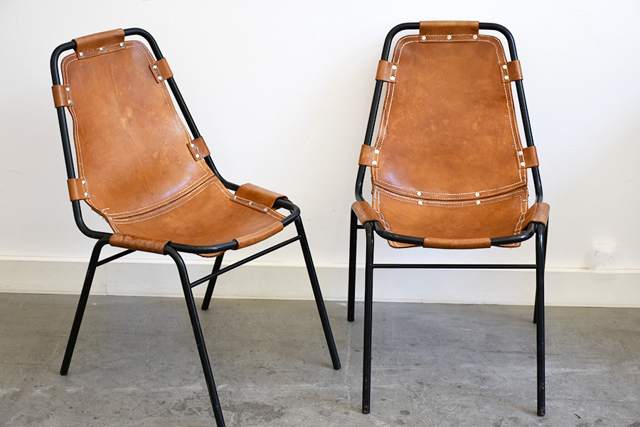 Set of 6 Les Arcs chairs, Charlotte Perriand, ca. 1960.