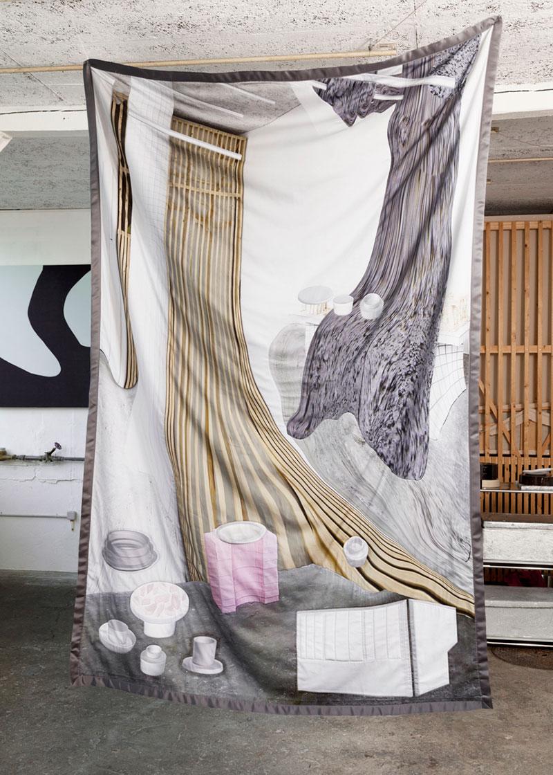 Couverture #1 CÉRAMIQUES coton imprimé cousu sur couverture en laine 143x221cm, 2016, photo ©Lucas Olivet