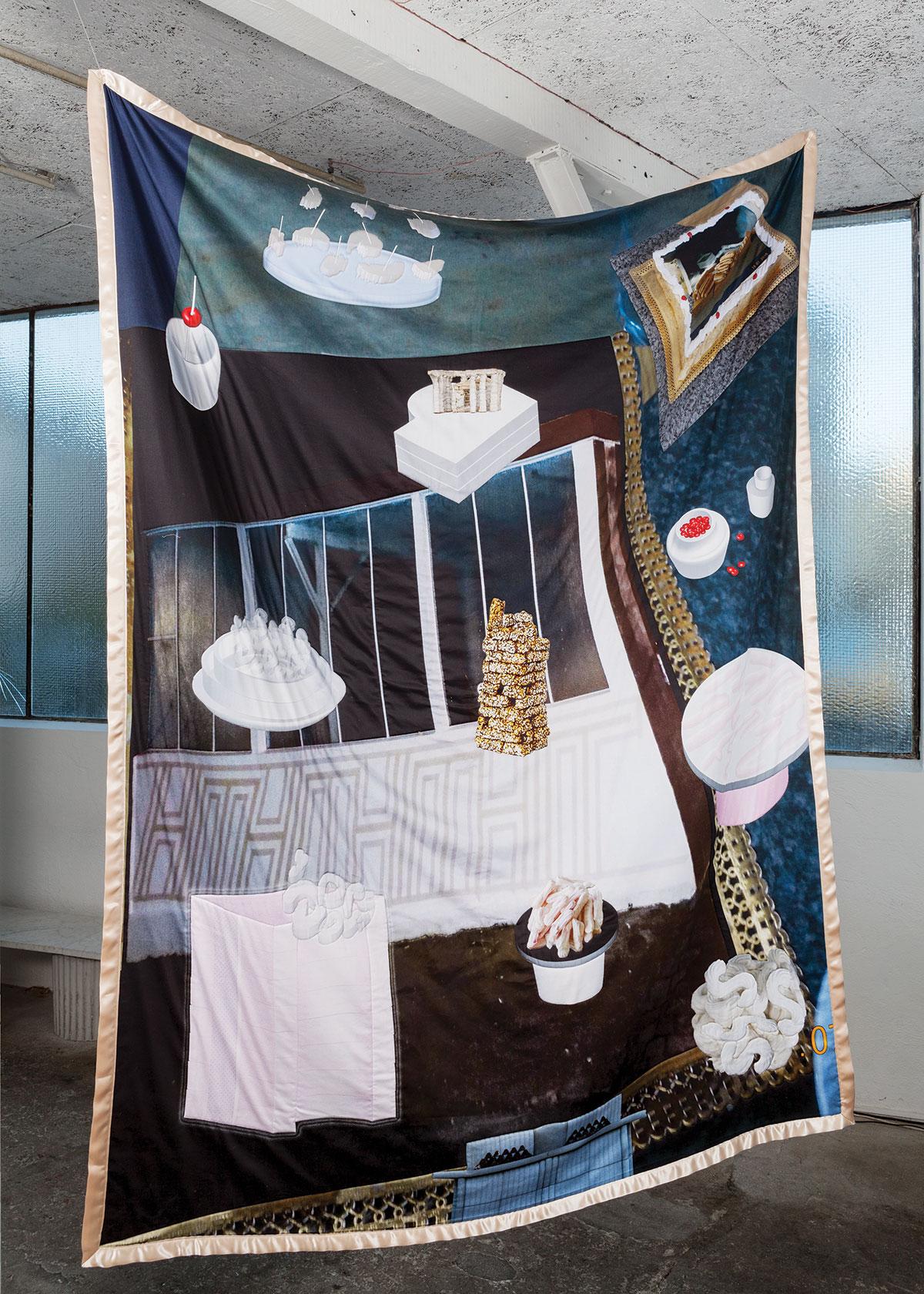 Couverture #2 HORS-D'OEUVRE coton imprimé cousu sur couverture en laine 147x196cm, 2016, photo ©Lucas Olivet