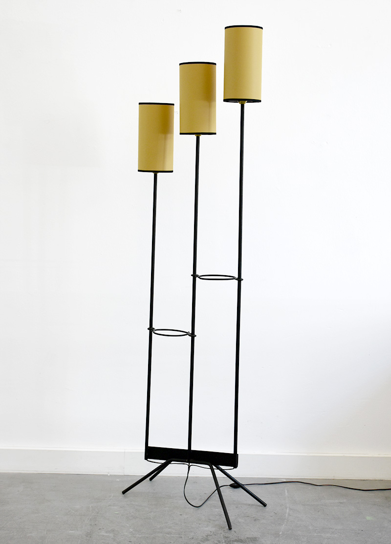 Floor lamp 3 arms, in the manner of Jean Royère