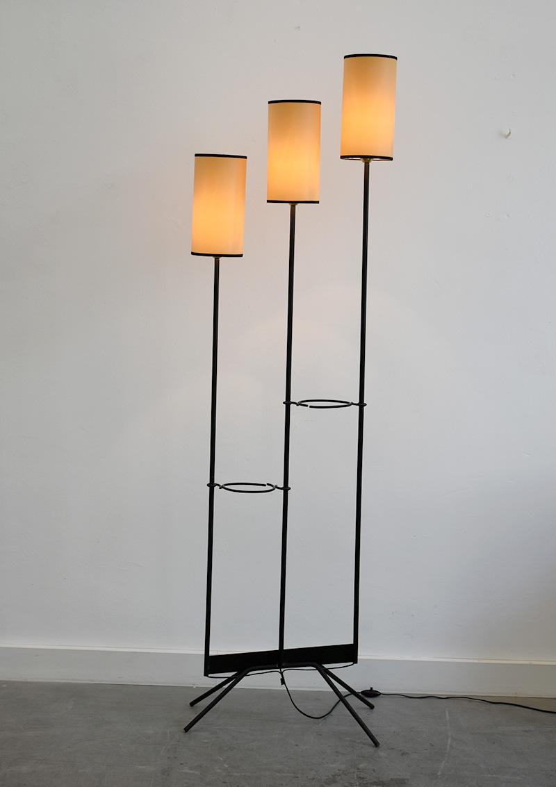 Lampe sur pied à 3 bras, DLG Jean Royère, ca. 1950